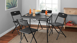 5 Piece Resin Plastic Card Table and Four Chairs Set, Black