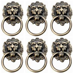 6Pcs Lion Head Handles Pulls Cabinet Knobs Antique Bronze for Door Drawer Dre...