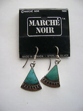 Sterling Silver Geuine Turquoise Inlay Hook Earrings New