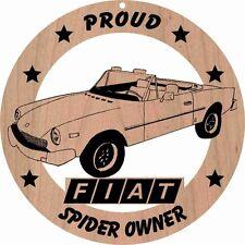 """Fiat 124 Spider Roadster Red Alder Wood Ornament Laser Engraved 3 3/4"""" Round"""