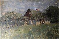Impressionist Bartsch Norddeutsche Bauernkate mit Obstbäumen 33 x 49 cm