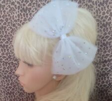 Gran lazo de Tul Tutú Brillo Blanco neto Alice Hair Head Band 80s Fiesta Vestido de fantasía