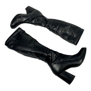Kookai Knee Length Black Leather Heeled Boots UK Size 4 EU Size 37