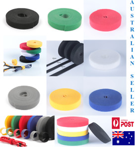 Hook & Loop Back To Back Strap Tape Roll Black White Blue Red Grey Green Yellow