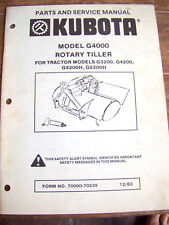 KUBOTA Model G4000 Rotary Tiller for Tractors PARTS & SERVICE MANUAL        #474