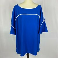 Alfani womens tunic top plus size 2X blue white piping flare sleeves career new