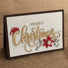 NEW Hand Finished Greeting Card Merry Christmas Flower
