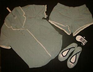 Victoria's Secret Pyjama Chemise + Short + Pantoufles + Masque Gris Rose Coton