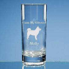 More details for norwegian elkhound dog lover gift personalised engraved quality highball glass