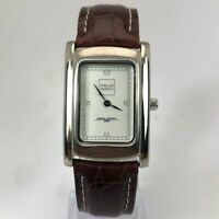 Dorg Gray Mens Wells Fargo Employee Analog Brown Leather Band Wristwatch