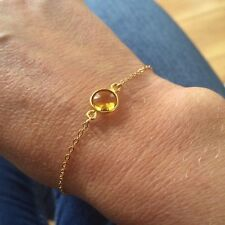 DESIGNER CITRINE BRACELET 18k GOLD FILL TINY GEMSTONE CHAKRA BIRTHSTONE JEWELRY