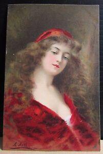 Old Angelo Asti Artist Signed Glamour Raphael Tuck Postcard - No.2731 Beatrice