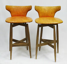 PAIR of 1960s MID CENTURY S J WIENER KODAWOOD MODERN BENT WOOD SWIVEL BAR STOOL
