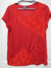 LADIES RED LACE DETAILED TOP SHORT SLEEVES SIZE 14 L.LINDA MADE IN AUSTRALIA