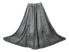 Boho Maxi Medieval Skirt Embroidered Rayon Crochet Lace GREY 8 10 12 14 16 18