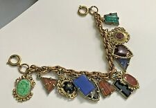 Vintage Dangling Charm Bracelet Made in Germany-Intaglio Glass, Glass Cabochons