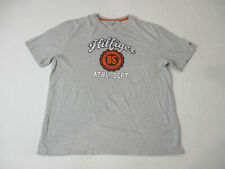 Tommy Hilfiger Shirt Adult 2XL XXL Gray Orange Spell Out Casual Cotton Mens