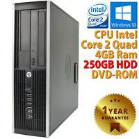 PC Ordenador Sobremesa Renovado HP Core 2 Quad RAM 4GB HDD 250GB Windows 10