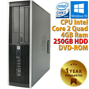 PC COMPUTER DESKTOP RICONDIZIONATO HP CORE 2 QUAD RAM 4GB HDD 250GB WINDOWS 10