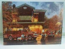 Firehouse Barnhouse Dalmation Kids Firetrucks ©1998 print Vintage Metal Sign