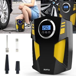 12V Electric Digital Car Tyre Inflator Pump Portable Air Compressor & 3 Adapters