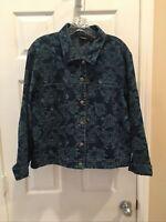 Chicos Women's Sz 2 Floral Print Stretch Denim Jeans Jacket Med Blue Wash Cotton