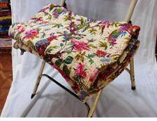 Beige Bird Indian Queen Size Kantha Quilt Bedspread Blanket Bedding Throw