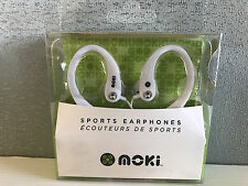 New Sealed Moki Brand Cool White Sports Ear Hook Earphones Ear Buds Headphones