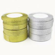 6, 10, 15, 25, 38mm GOLD SILVER GLITTER / Sparkle Organza Ribbon Wedding Gift UK