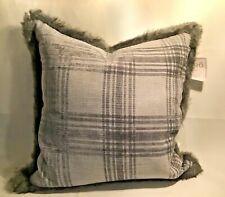 "THRO HOME by Marlo Lorenz - 20""x20"" Silver Plaid Fur trim pillow REG $29.99 Gray"