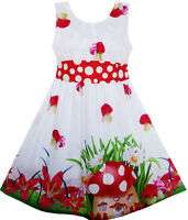 Robe Fille Champignon Fleur Herbe Imprimer Polka Point Ceinture Rouge 4-12 ans