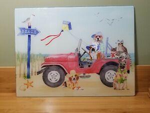 Jeep Beach Dog Cat Cutting Board Glass 12 X 16 inch Pre-owned