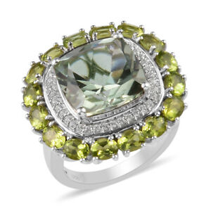 925 Sterling Silver Platinum Over Prasiolite Peridot Halo Ring Size 5 Ct 10.2