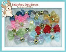 ~BabyRou~ 50 Dog Grooming Ribbon Pet Bows (Shimmer Shimmer)