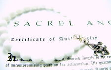 Silver Fleur De Lis Jade Strech Bracelet With Black  Diamonds by Sacred Angels