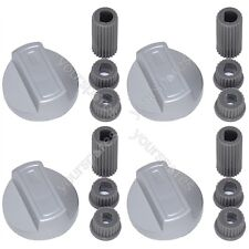 Universal Chrome Oven Knob Silver Gas Hob Cooker Control Switch Knobs Adaptors