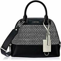Calvin Klein Clara Stucco Leather Key Item Dome Satchel Black & Whit Bag NWT