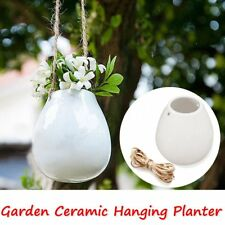Ceramic Hanging Planter Flower Pot Plant Vase with Twin for Home Garden Balcony