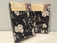 2 Ralph Lauren Port Palace European Euro Pillow Shams Black White Floral