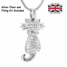 Cat Kitten Pet Cremation Urn Pendant Ashes Silver Necklace Funeral Memorial