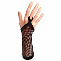 Black Long Fingerless Fishnet Gloves & FINGER LOOP - Fancy Dress Hen 80's Party