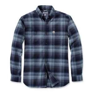 Carhartt Hamilton Flannelhemd Karohemd Holzfällerhemd Freizeit Blau Navy 103820