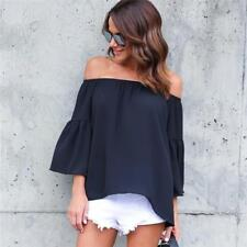 Women Off Shoulder Strapless Tops Long Sleeve Loose Casual Shirt Blouse B