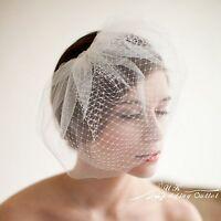 Bridal wedding birdcage ivory Fascinator Head piece veil 2 tier with comb