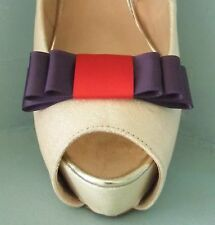 2 Plum & Red Triple Bow Clips for Shoes - other colours on request