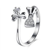 925 Sterling Silver Fashion Resizable Ring AAA Zirconia Women Heart B419