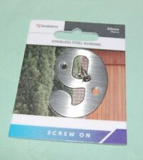 Sandleford Door Number 9 Stainless Steel Size 50mm for Doors Timber Brick Wall