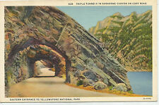 Triple Tunnels in Shoshone Canyon on Cody Road, Yellowstone, Linen Postcard