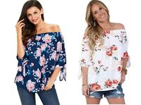 Woman's Ladies Floral Wedding Gypsy Off The Shoulder Plus Size Top 12 14 16 18
