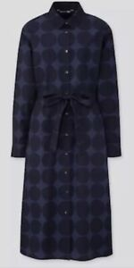Uniqlo Marimekko Womens Blue Navy Krivit Spot Long Shirt Dress XL Bnwt